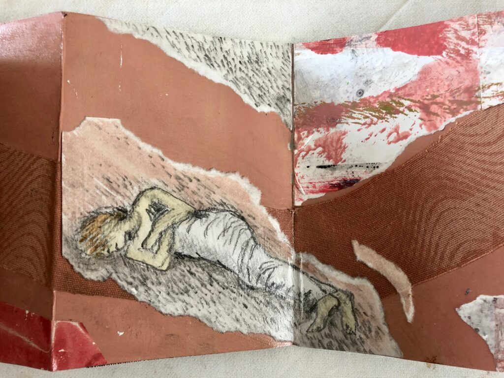 2018 Unsere Welt, Collagen mit Monotypie-Papieren, Zeichnungen und Zeitschriften