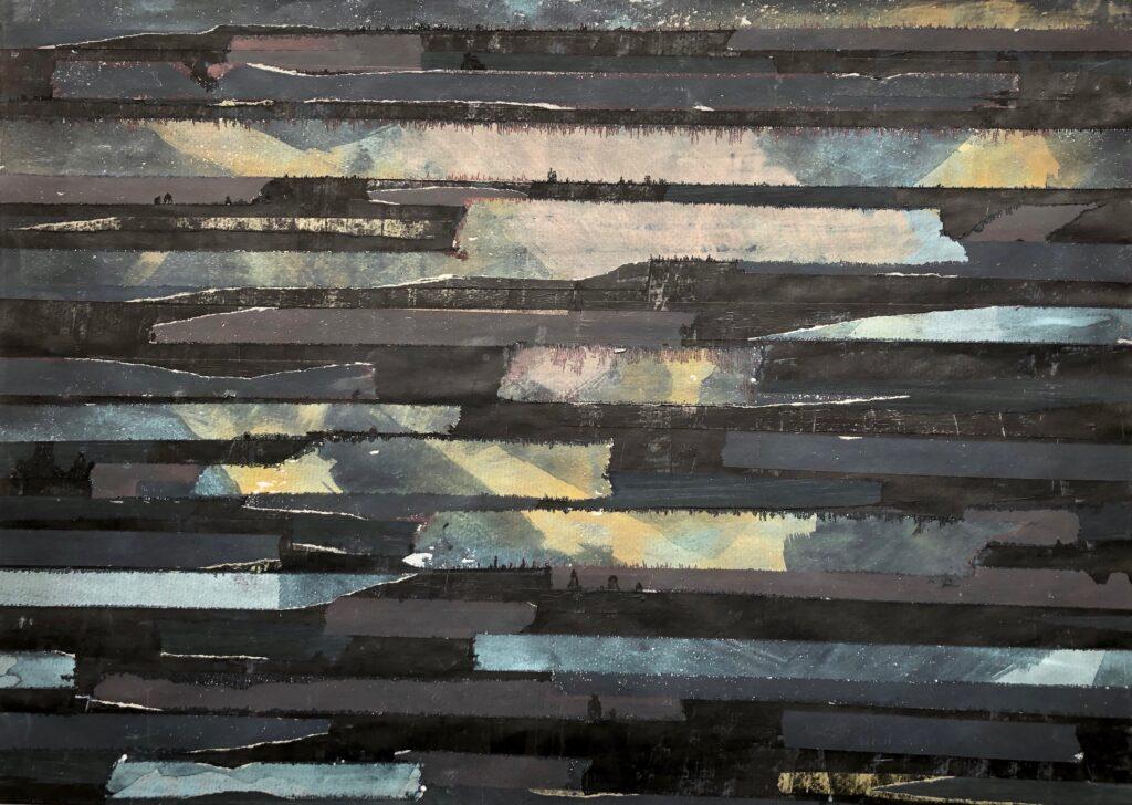 2016 Verletzlichkeit, Collagen-Decollagen, Acryl, Klebbänder